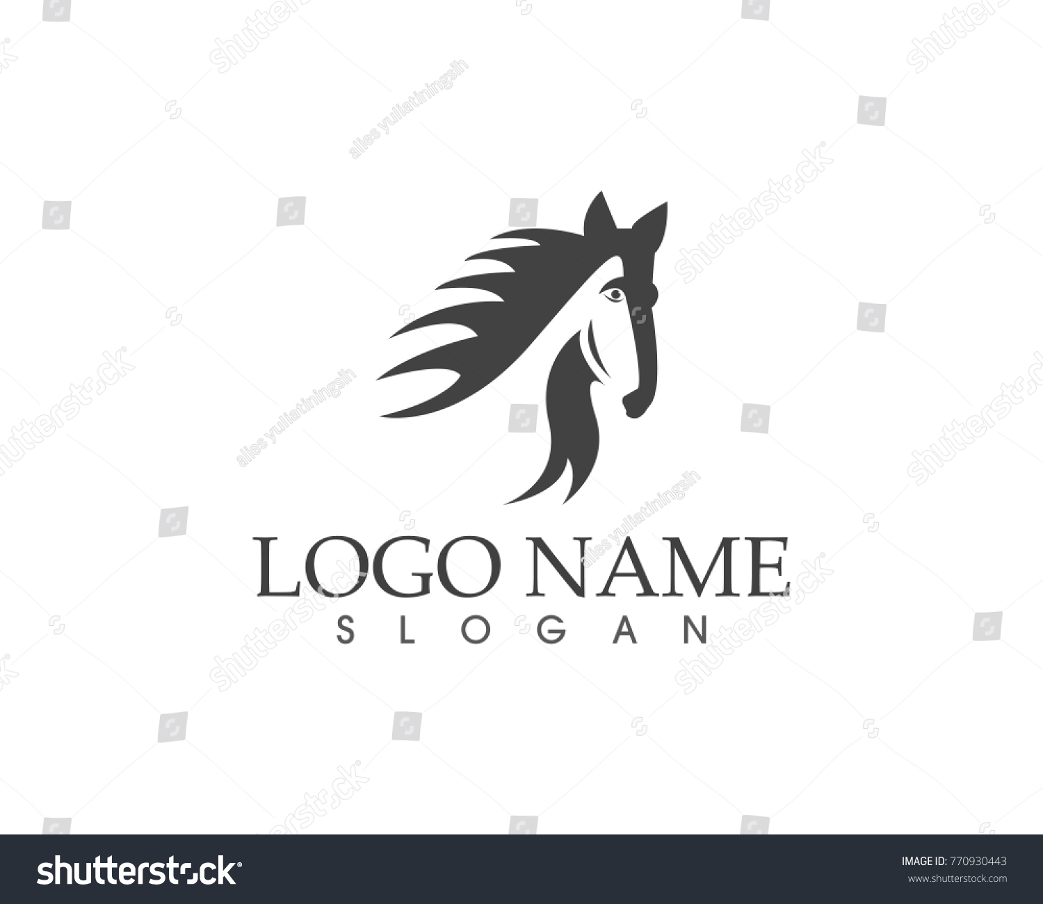 Horse Head Logo Design Template Stock Vector Royalty Free