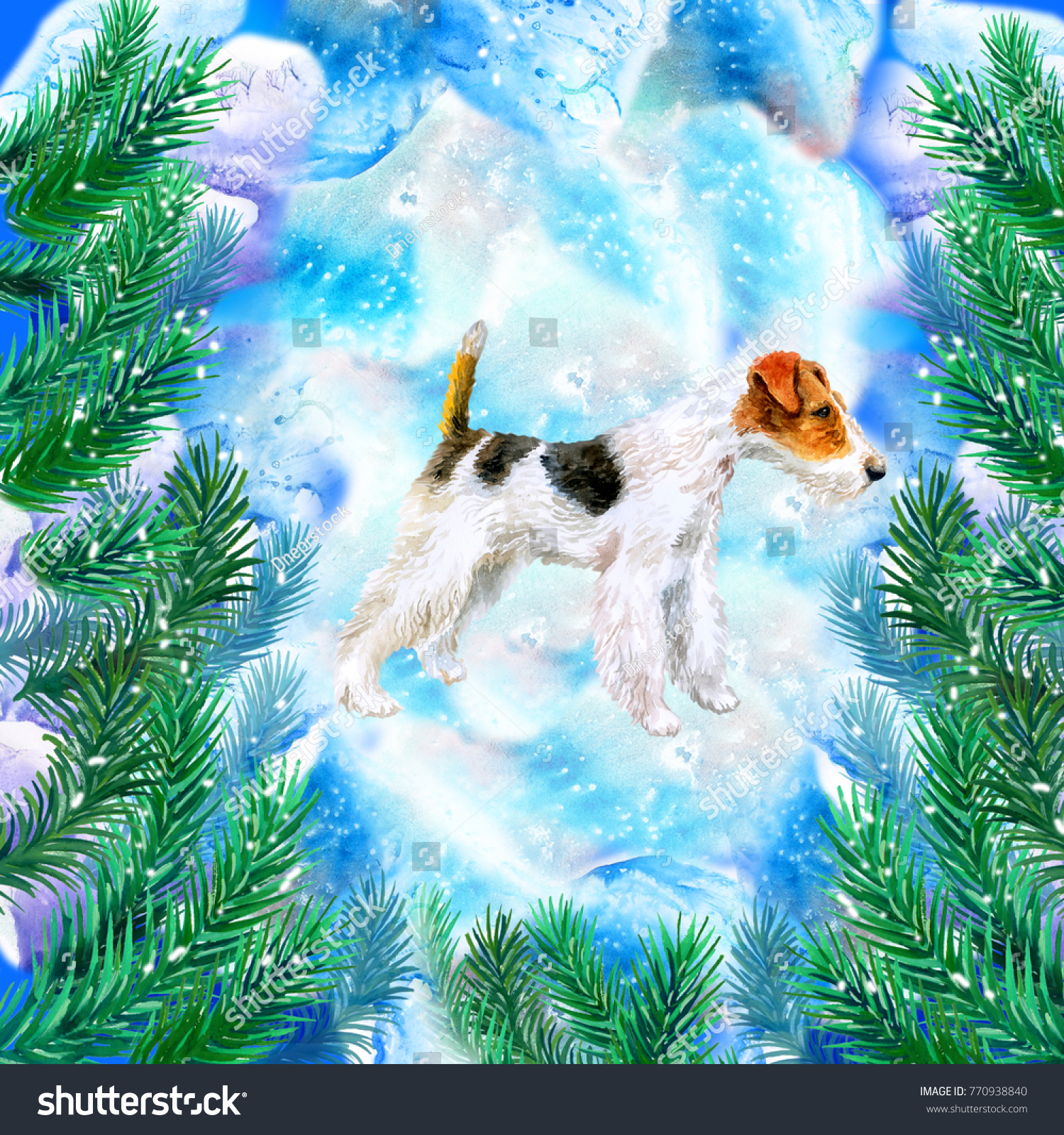 Fox Terrier Symbol New Year Christmas Stock Illustration 770938840 ...
