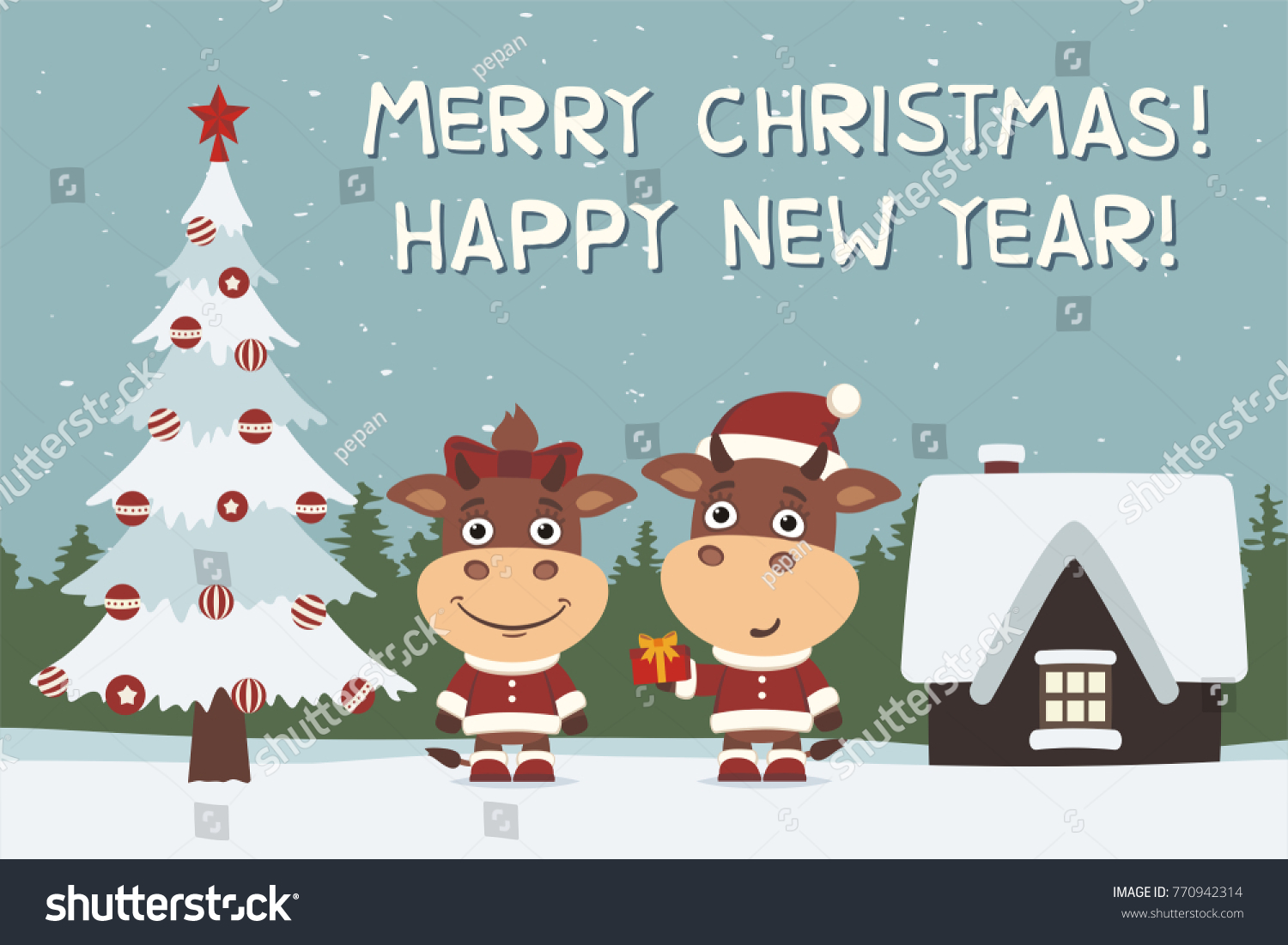 merry christmas and happy new year greeting card cow and bull boy and