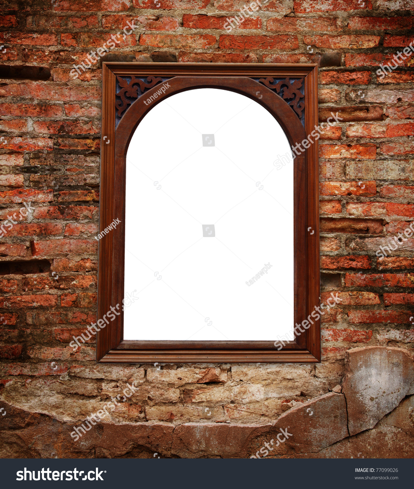 Brick Wall Window Outside White Background Stock Photo (Edit Now ...