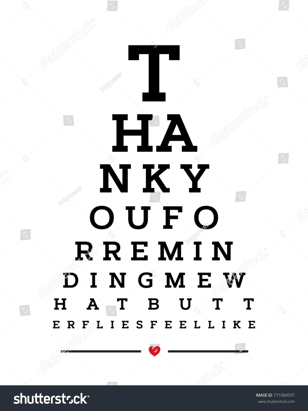 Eye chart snellen wall word typography stock vector 771004597 eye chart snellen wall word typography art poster vector design for thank you for reminding me geenschuldenfo Choice Image
