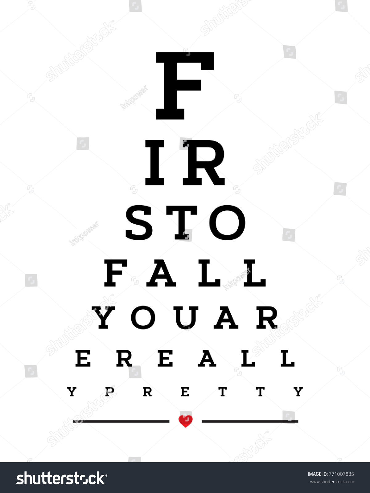 Eye Chart Snellen Wall Word Typography Art Poster Vector Design For