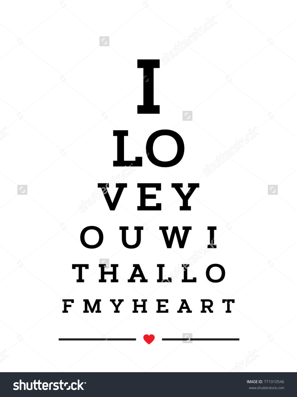 Eye Chart Snellen Wall Word Typography Stock Vector Royalty Free