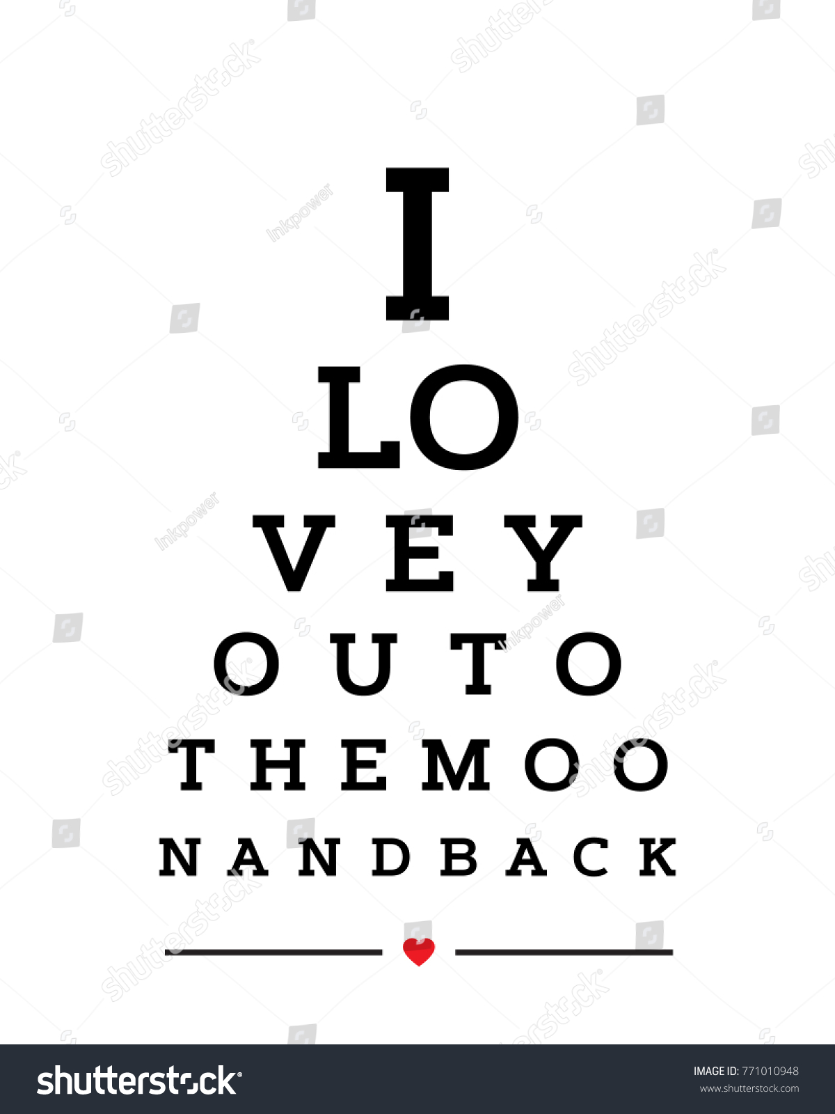 Eye chart snellen wall word typography stock vector 771010948 eye chart snellen wall word typography art poster vector design for i love you to the geenschuldenfo Choice Image