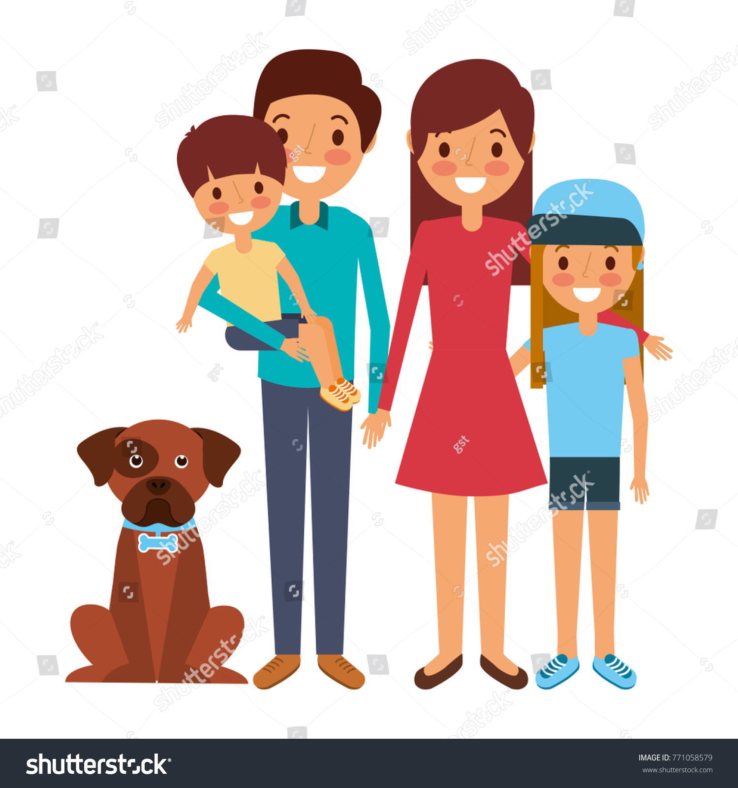 Cute Family Dad Mom Little Son Stock Vector (2018) 771058579 ...