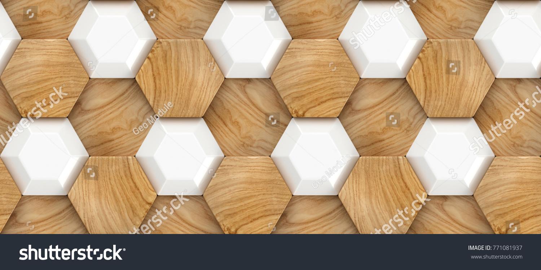 Wood oak 3d tiles texture with white plastic elements