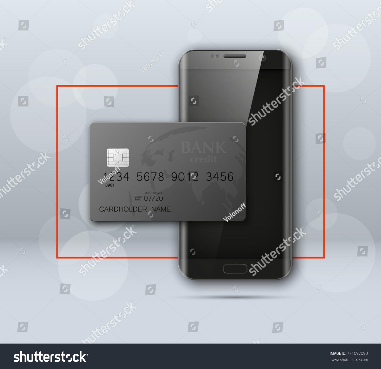 Smartphone Banner Credit Card Advertising Promo Stock Illustration ...