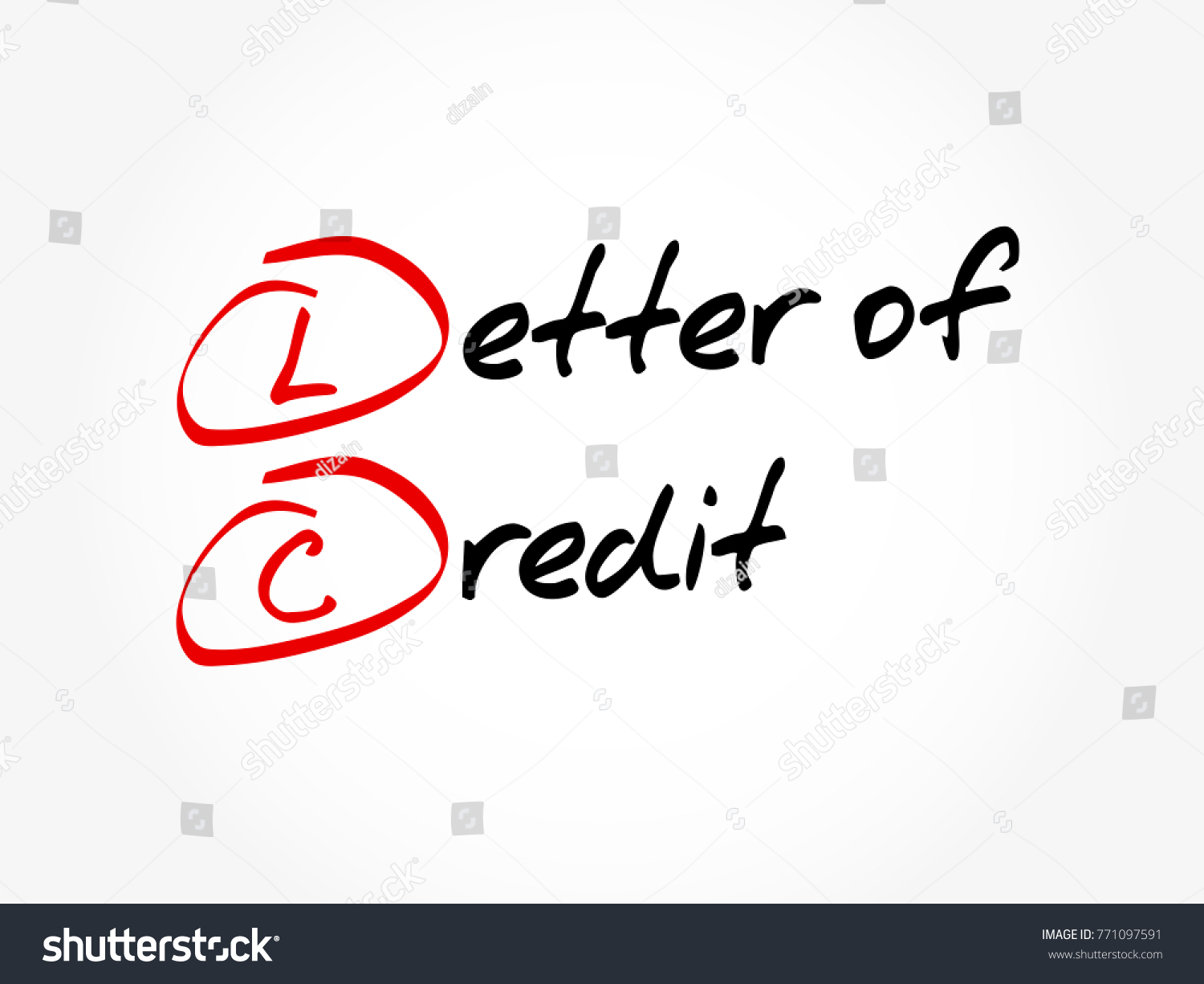 Lc Letter Credit Acronym Business Concept Stock Vector Royalty Free