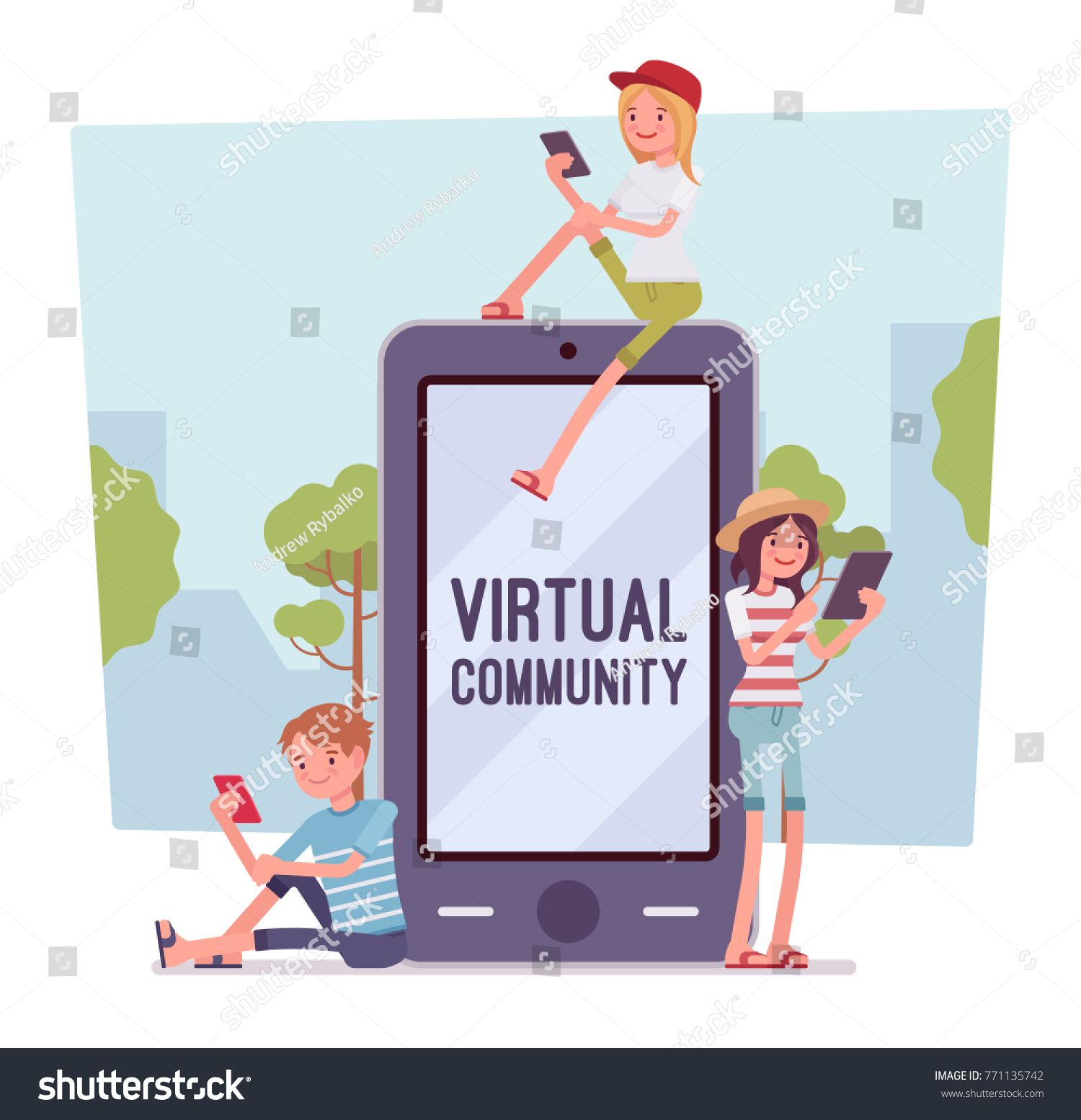 Virtual Youth Communication Audio Video Text Stock Vector Royalty