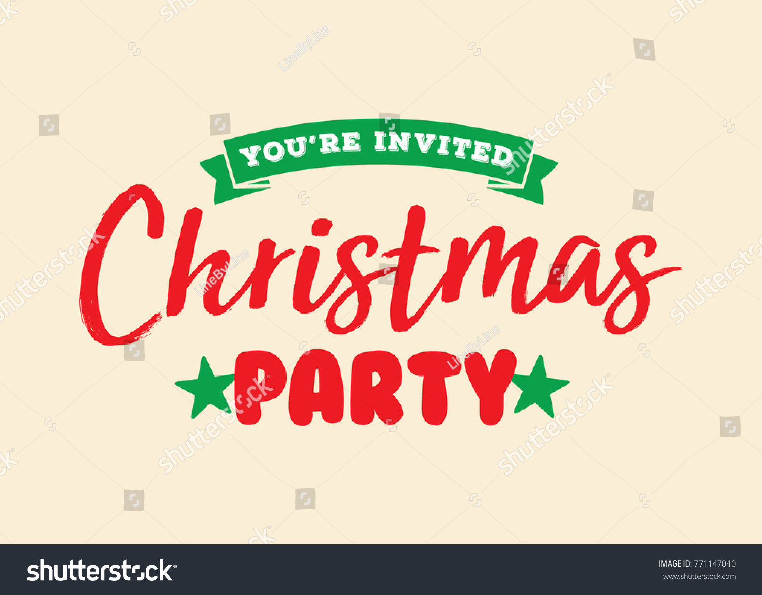 Christmas Party Invitation Vector Text Background Stock Vector ...