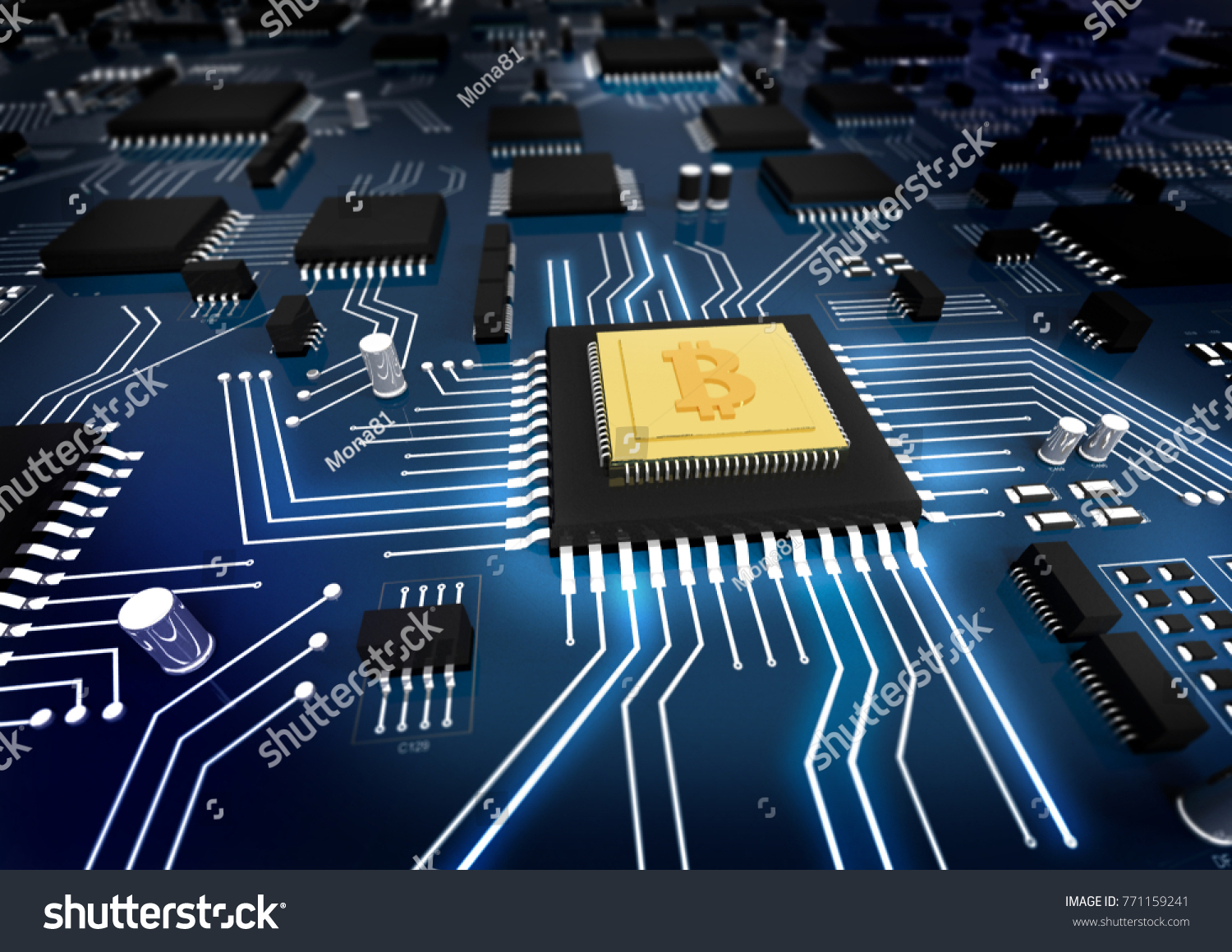Bitcoin Concept Printed Circuit Board Stock Illustration Photos Images Pictures Shutterstock With Processor And Microchips 3d