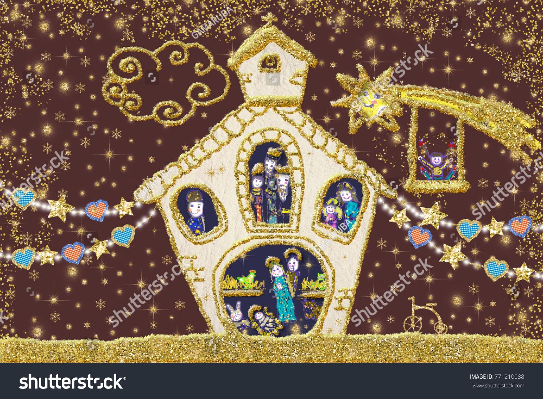 Nativity scene christmas greeting card nativity stock illustration nativity scene christmas greeting card nativity scene drawn freehand with childish style and golden glitter kristyandbryce Choice Image