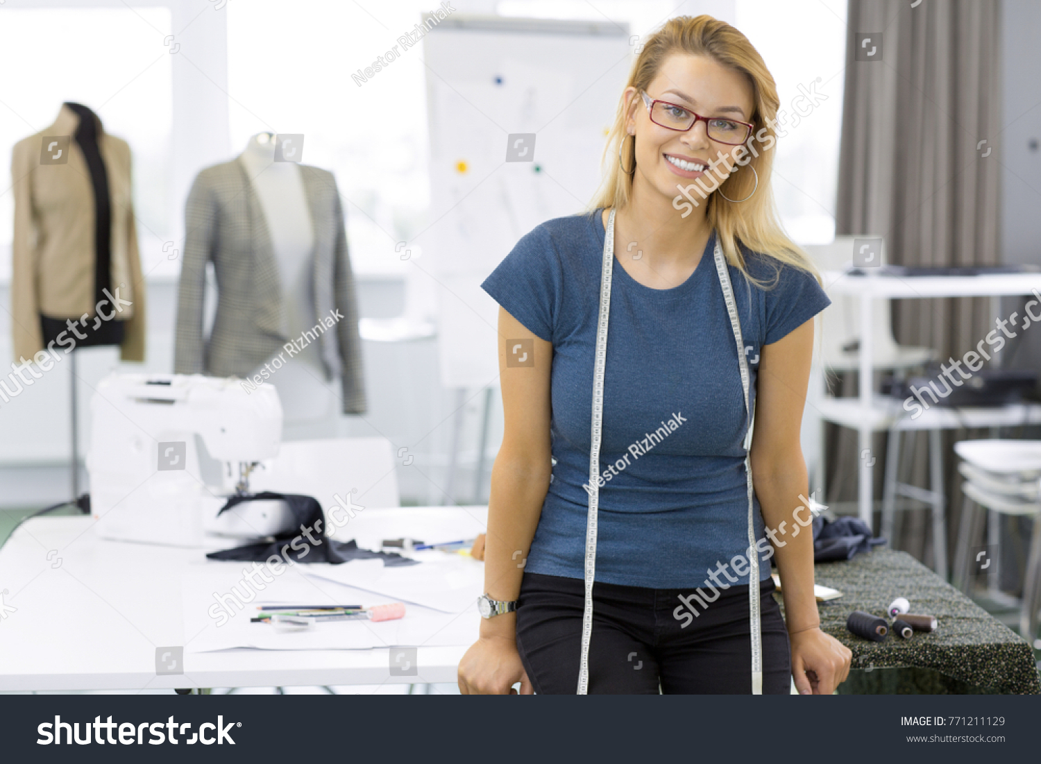 Happy Young Successful Businesswoman Fashion Designer Stock Photo Edit Now 771211129