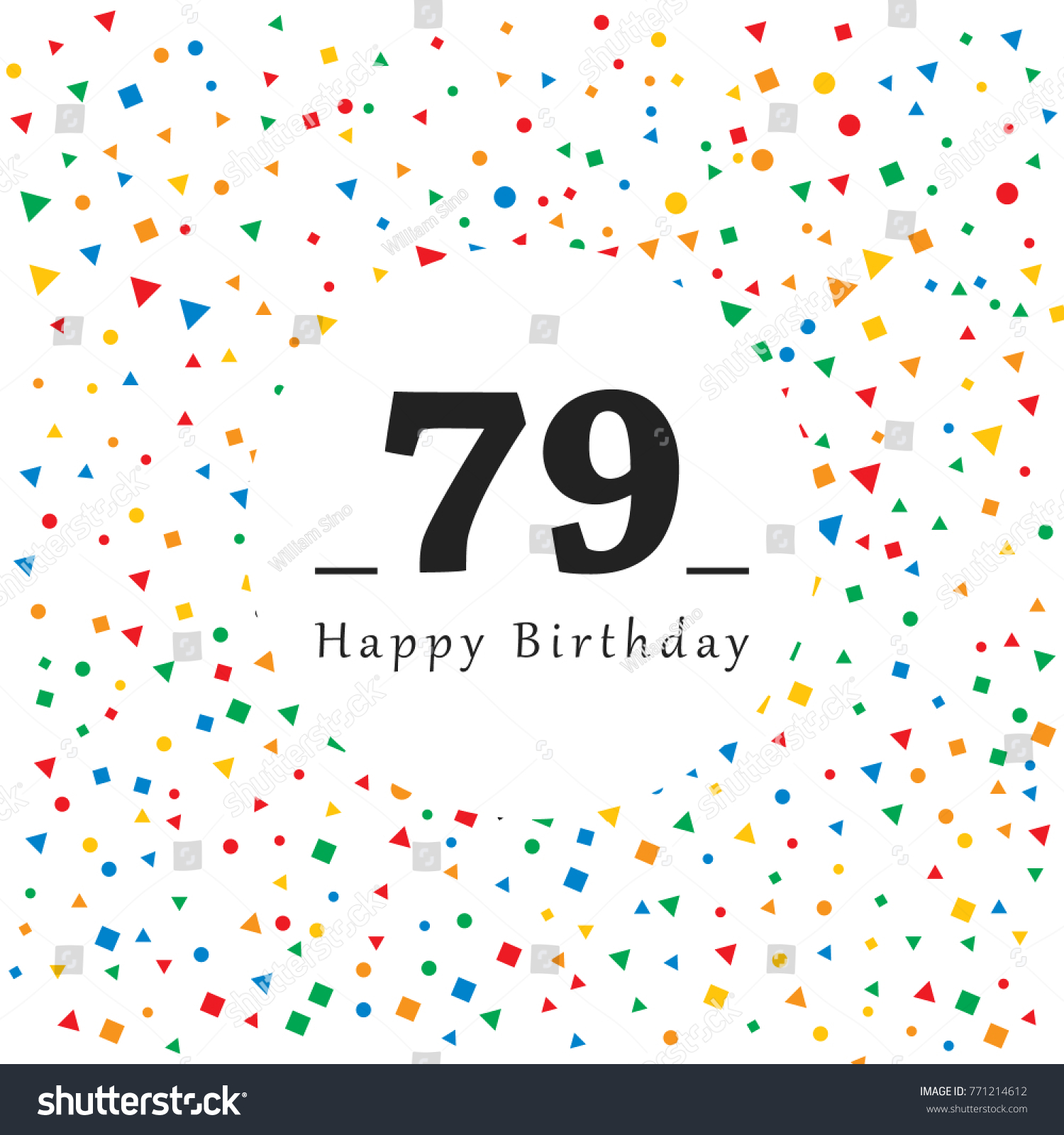 Happy 79 Birthday Card Abstract Background Image Vectorielle De
