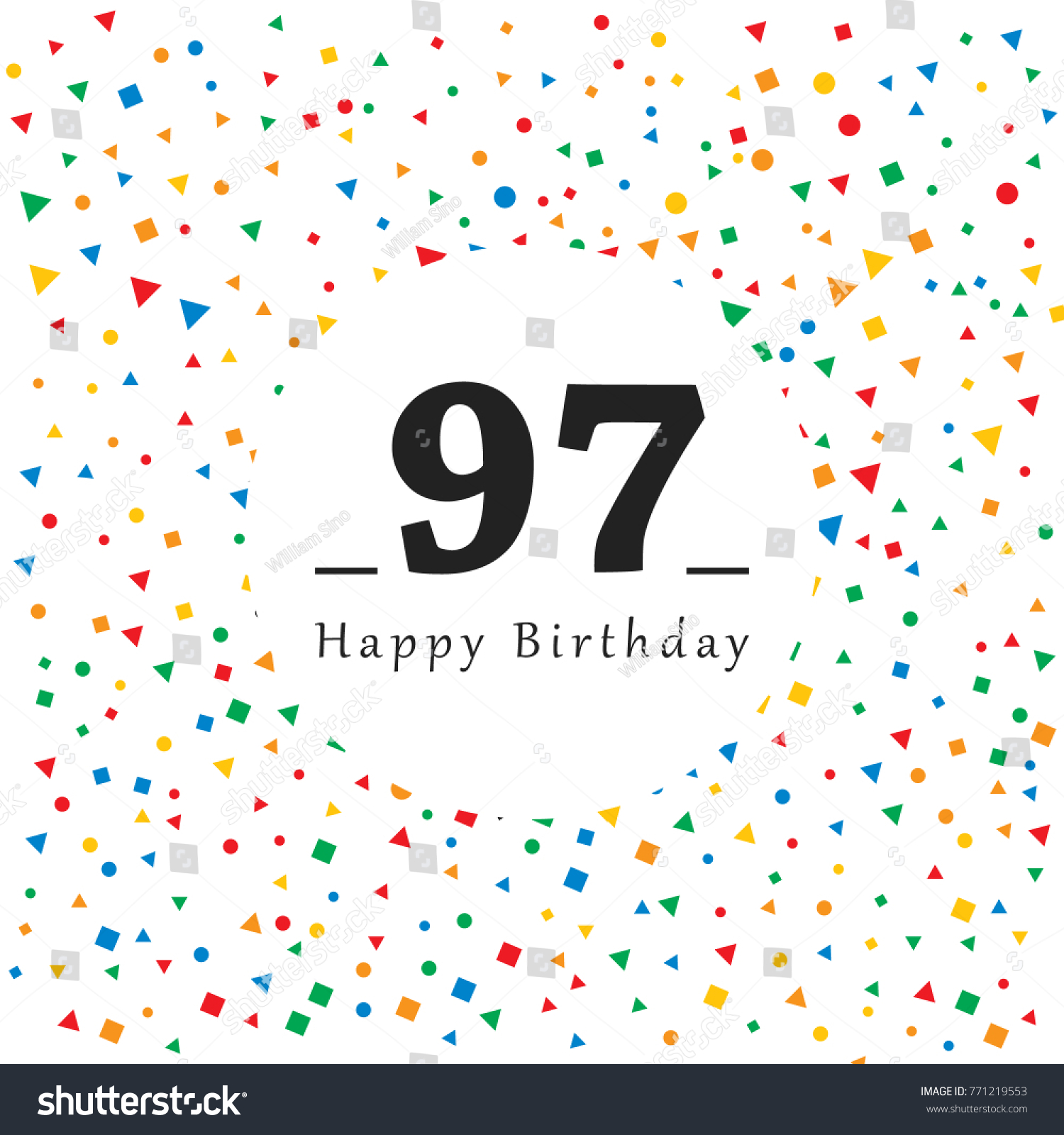 Happy 97 Birthday Card Abstract Background Stock Vector