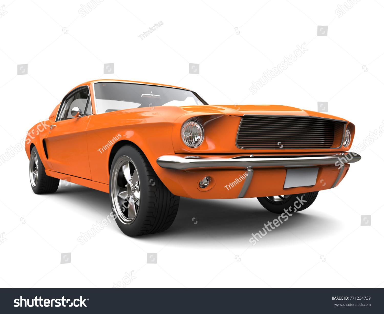 Beautiful Orange Vintage American Muscle Car Stock Illustration ...
