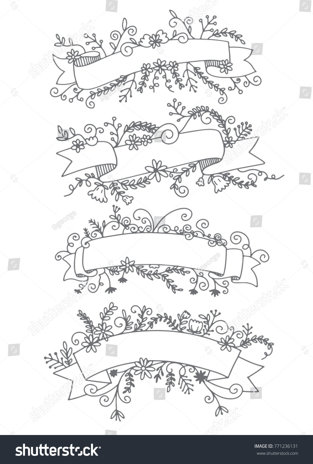 Collection Of Hand Drawn Doodle Design Elements Sketched Rustic Decorative Banners Dividers Ribbons