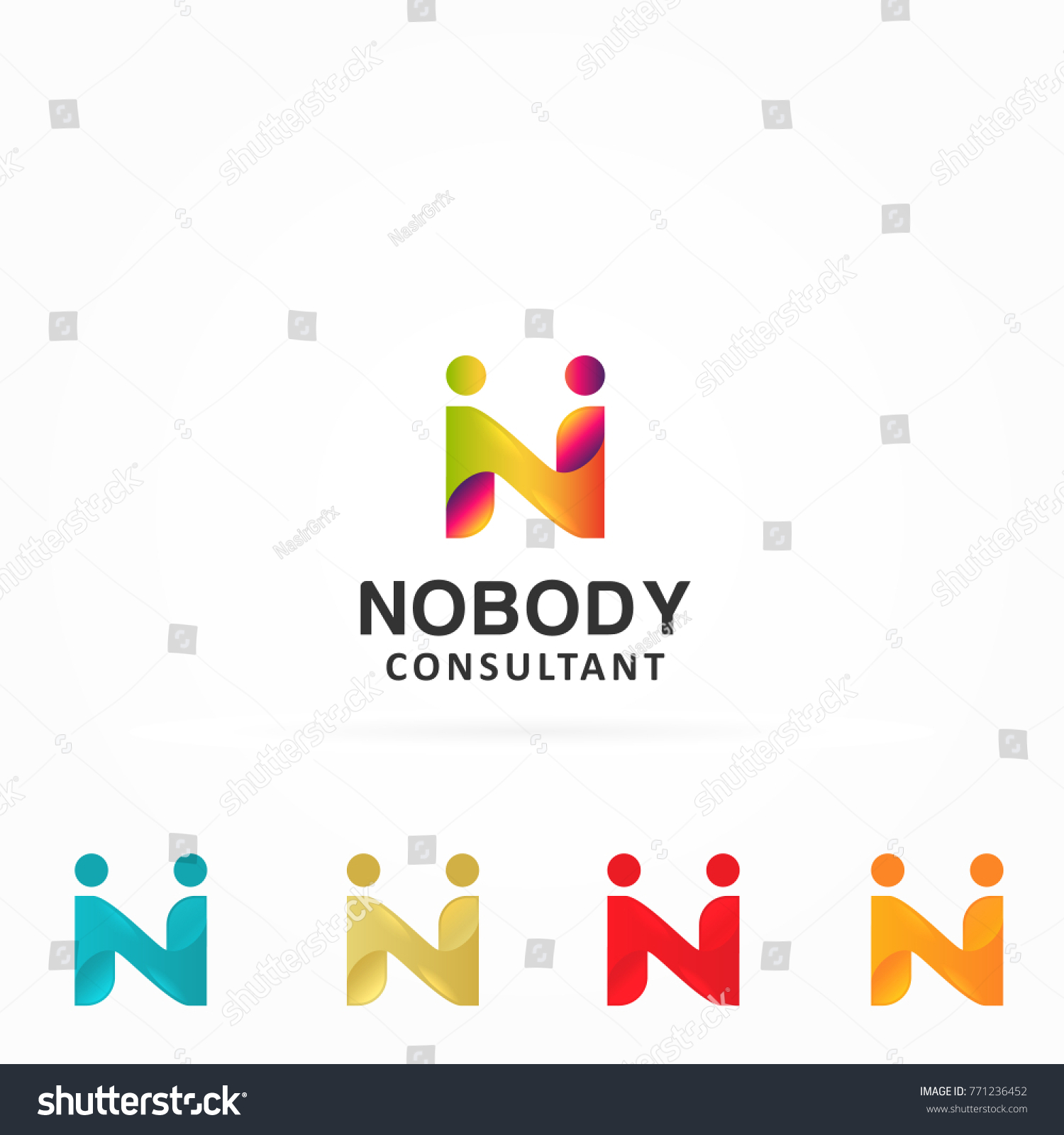 N Letter Logo Two People Hands Stock Photo Photo Vector