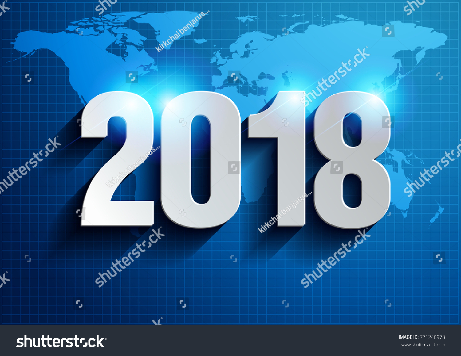 happy new year 2018 illustration vector world map background