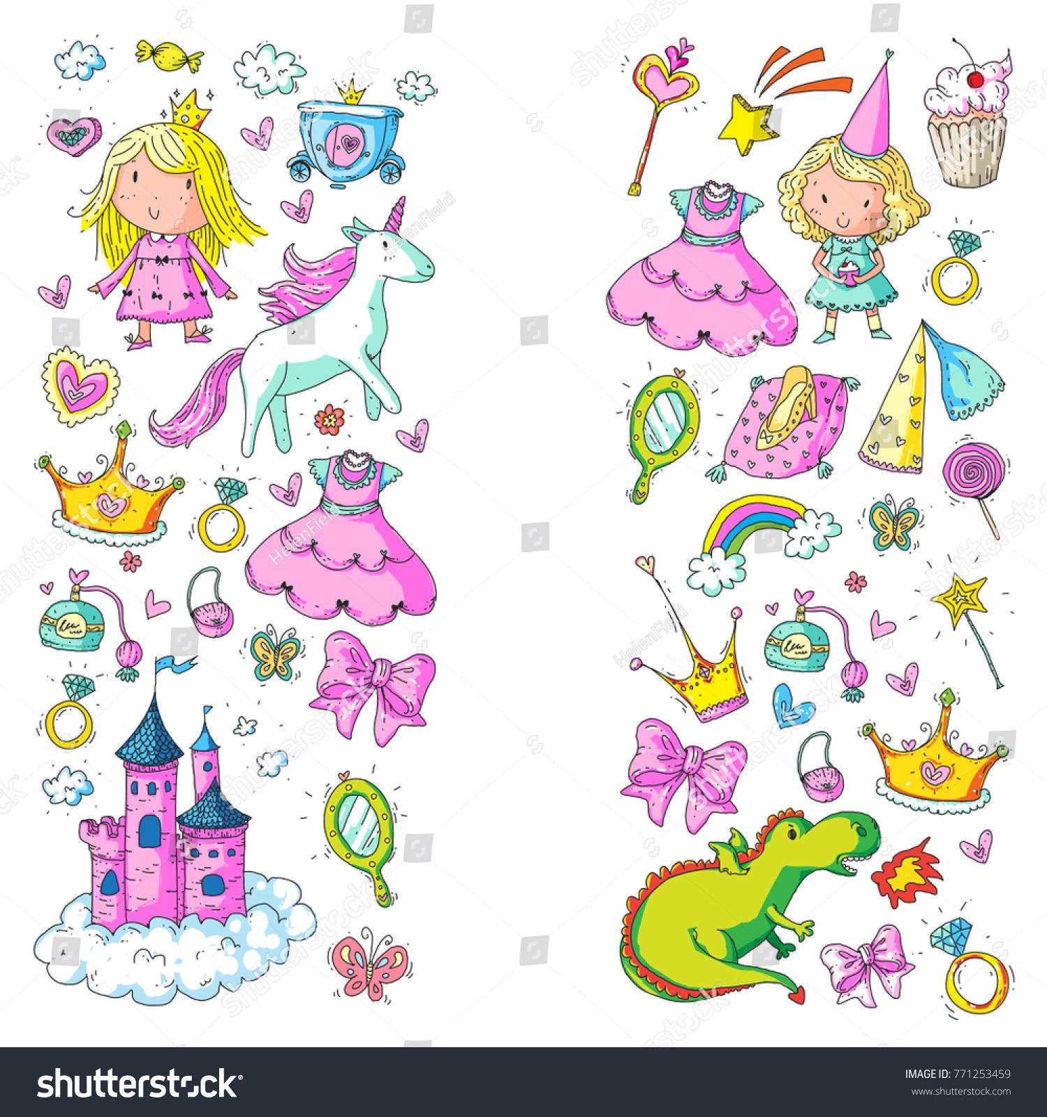Cute Princess Icons Set Unicorn Dragon Stock Vector (Royalty Free ...