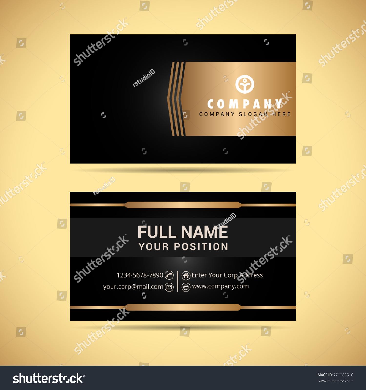 Black Gold Business Card Vector Stock Photo (Photo, Vector ...