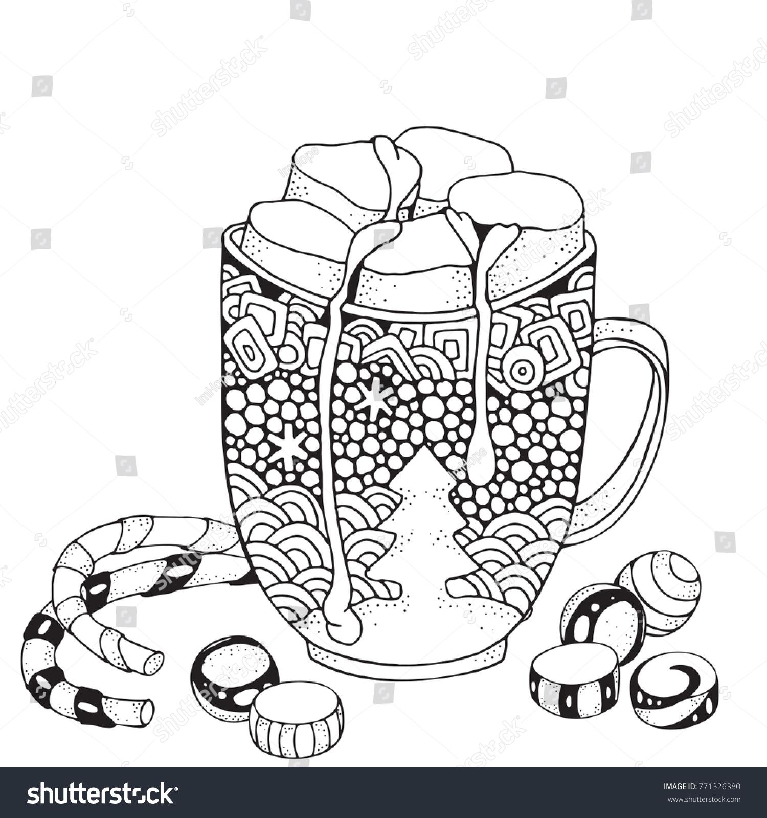 Christmas Mug Hot Chocolate Marshmallow Adult Stock Illustration ...