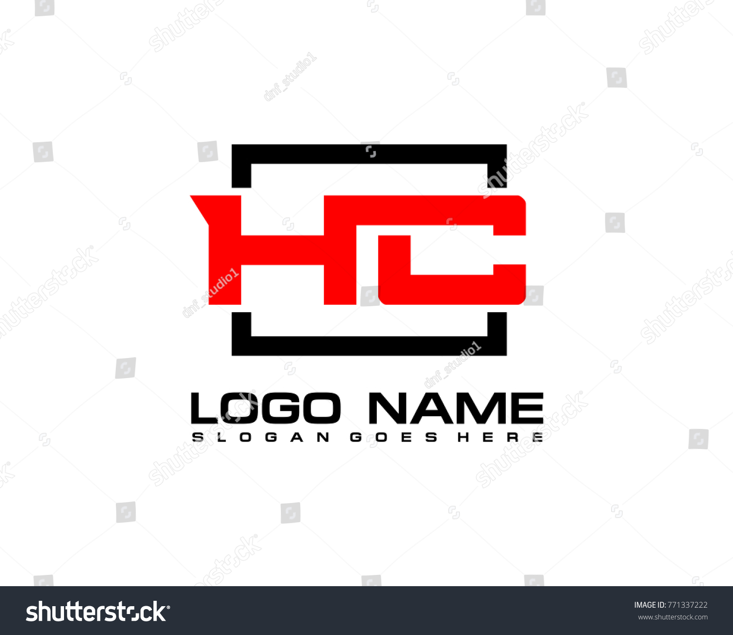 initial square h c logo template stock vector royalty free