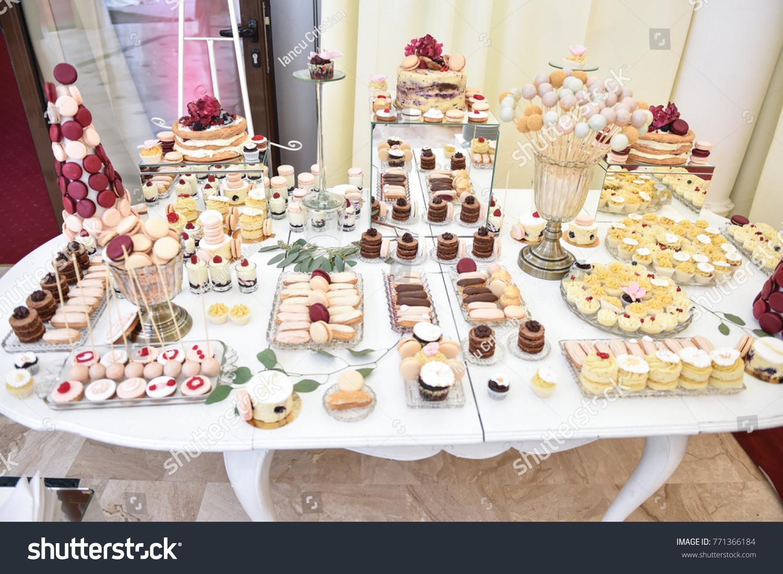 Wedding Decoration Pastel Colored Cupcakes Meringues Stock Photo