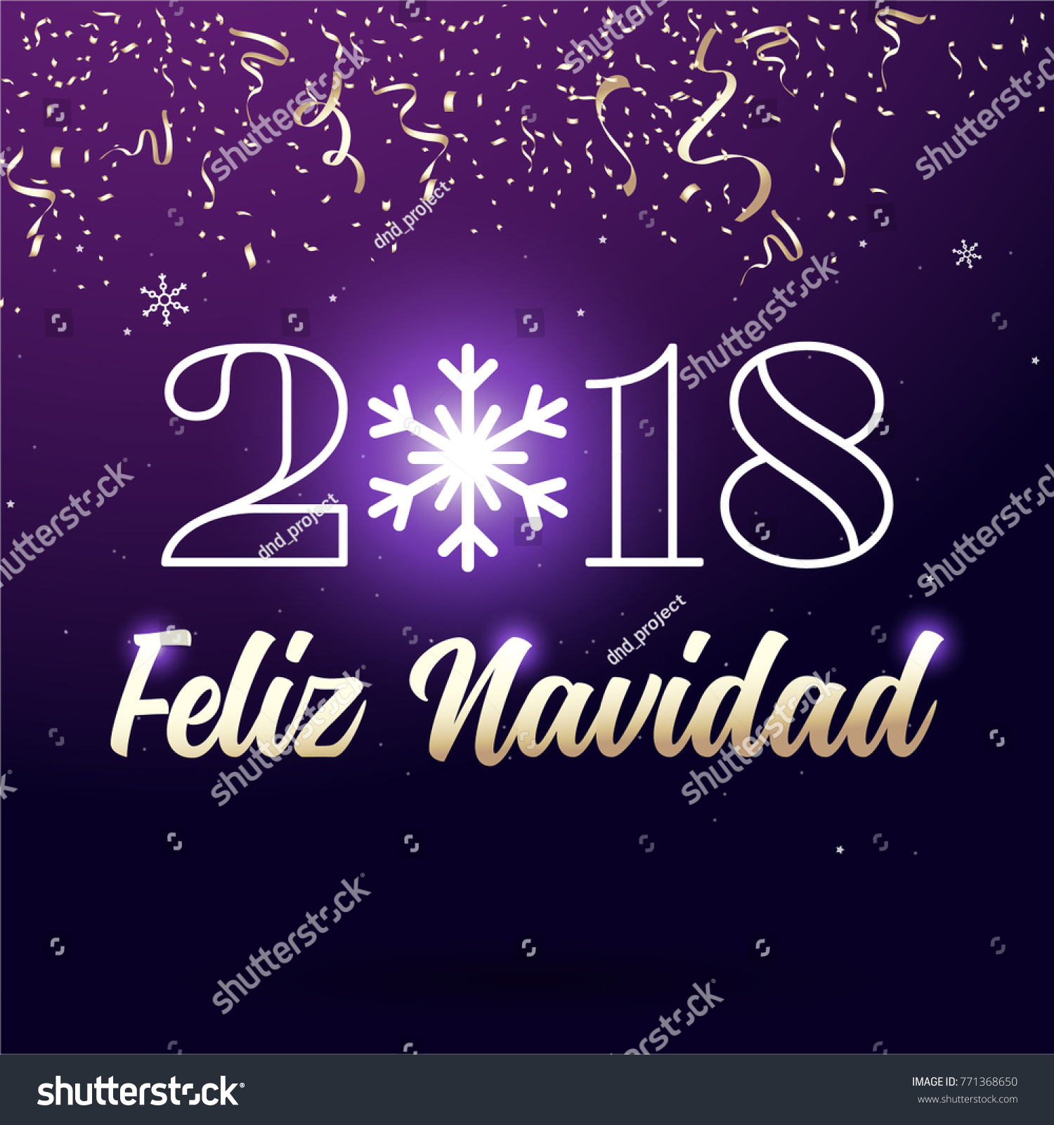 happy new year badge spanish feliz navidad with lettering ribbon type and snowflakes