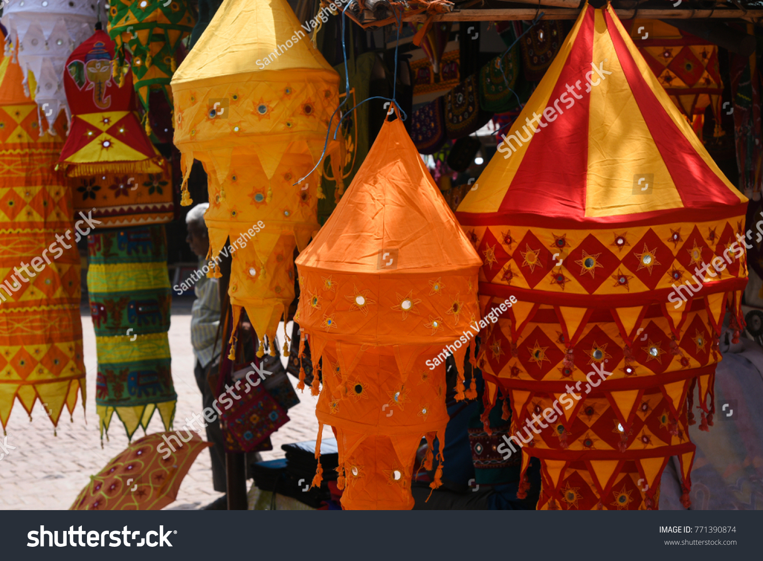 Colourful traditional cloth lamp shades shapes stock photo edit now colourful traditional cloth lamp shades with shapes mirror work chandeliar hanging in pipli aloadofball Images