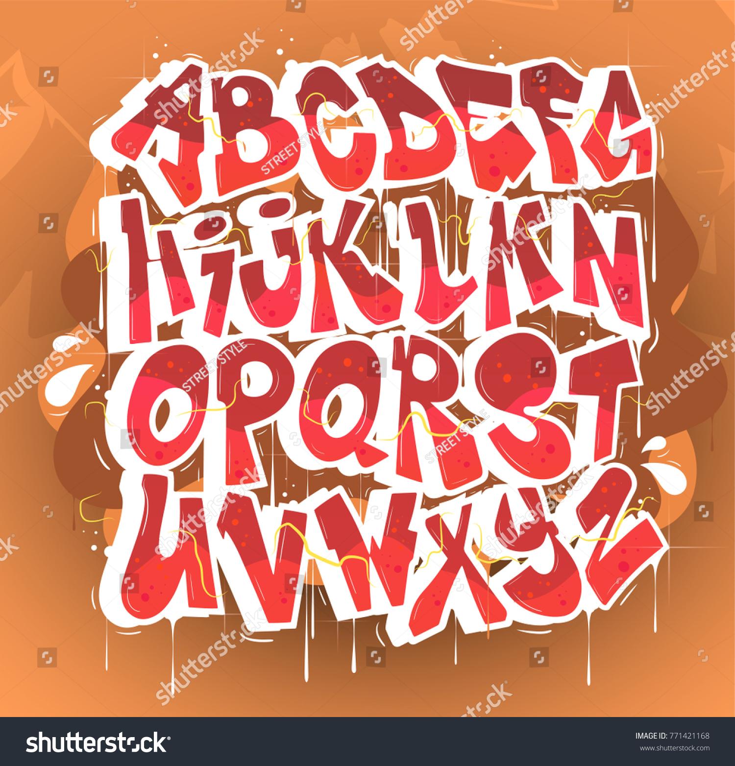 Hip hop graffiti font vector