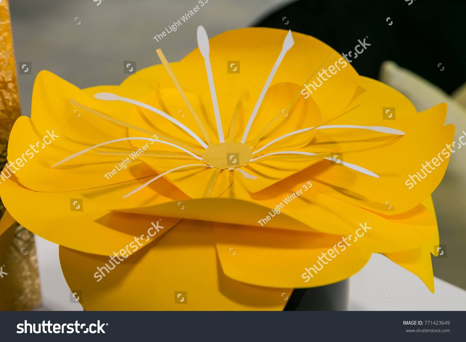 Paper Flower Decoration Yellow Flower Paper Stock Photo Edit Now