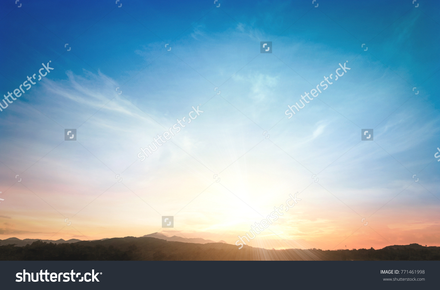 World environment day concept: Sun light and mountain sky of heaven autumn sunset background #771461998