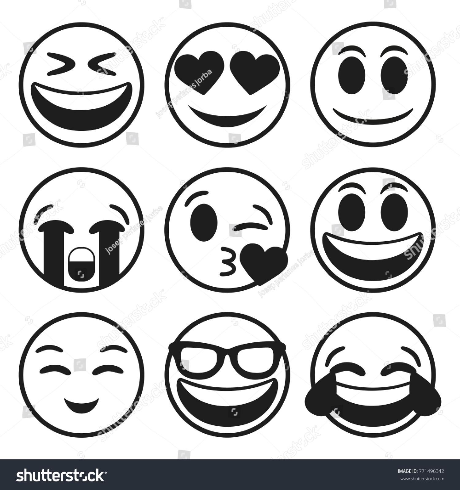 Line Art Emojis : Emoji smiley face vector line stroke stock