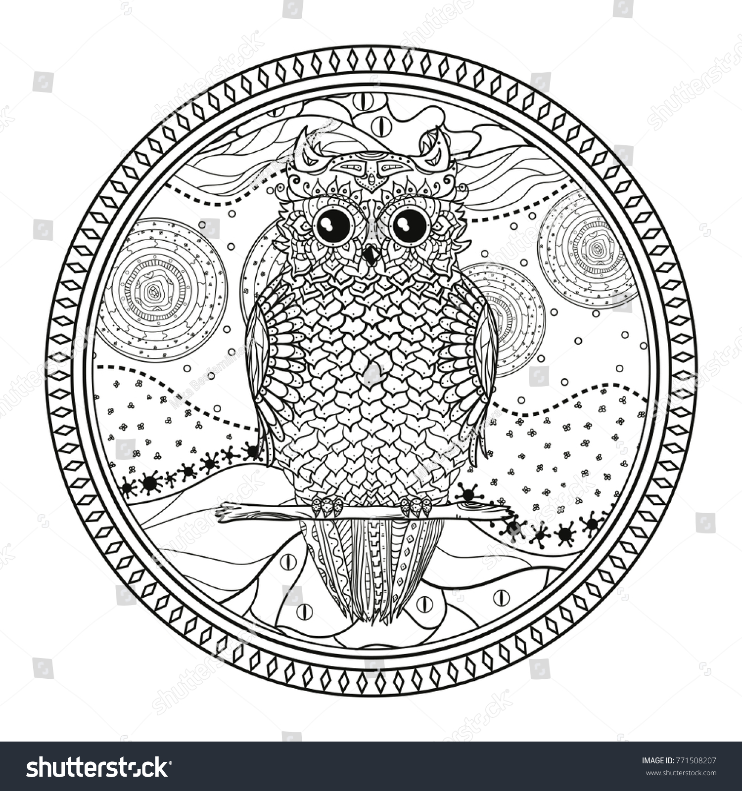 owl mandala with cute bird zentangle hand drawn abstract patterns on isolation background