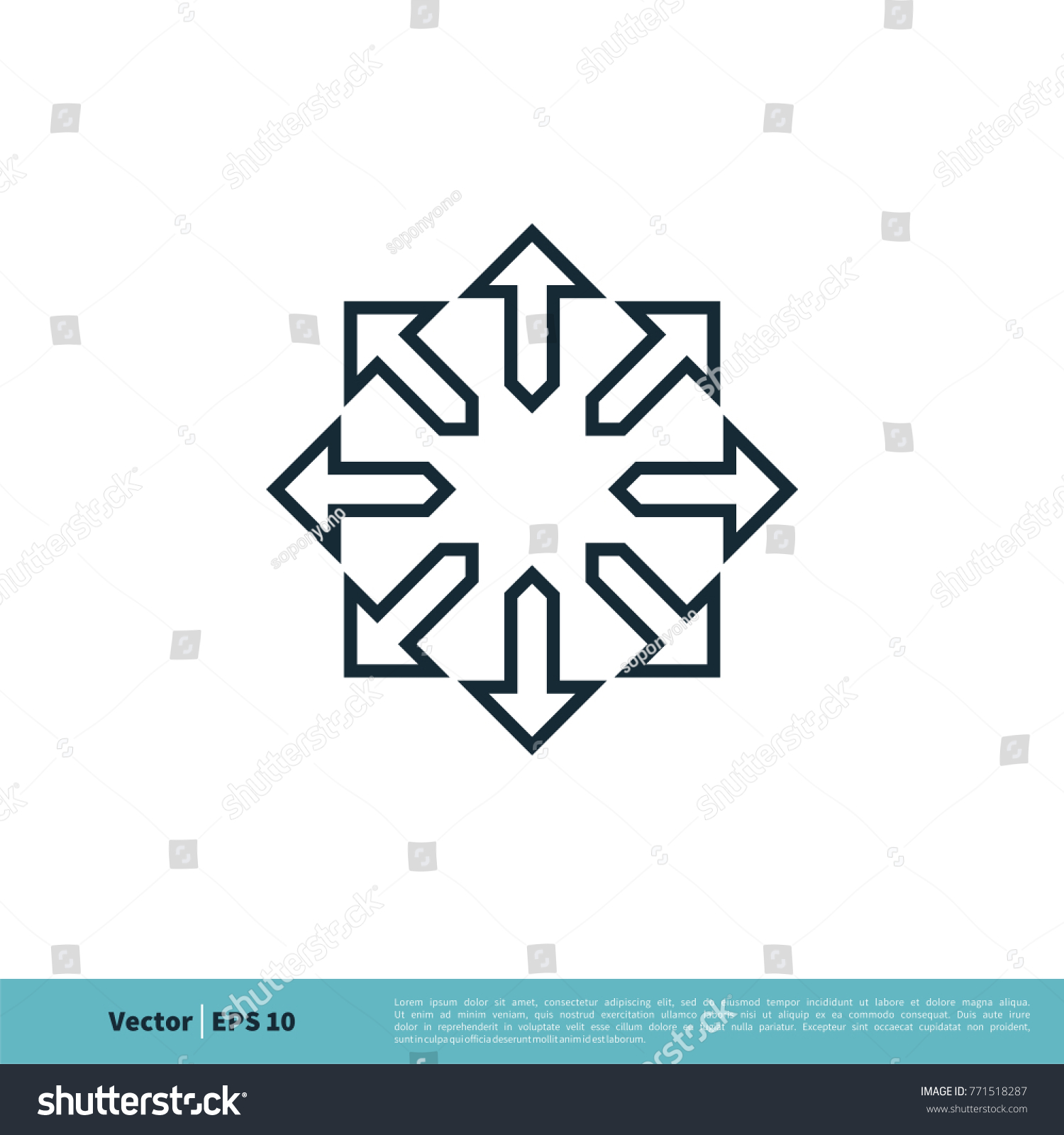 compass rose ornamental arrow icon vector stock vector 771518287