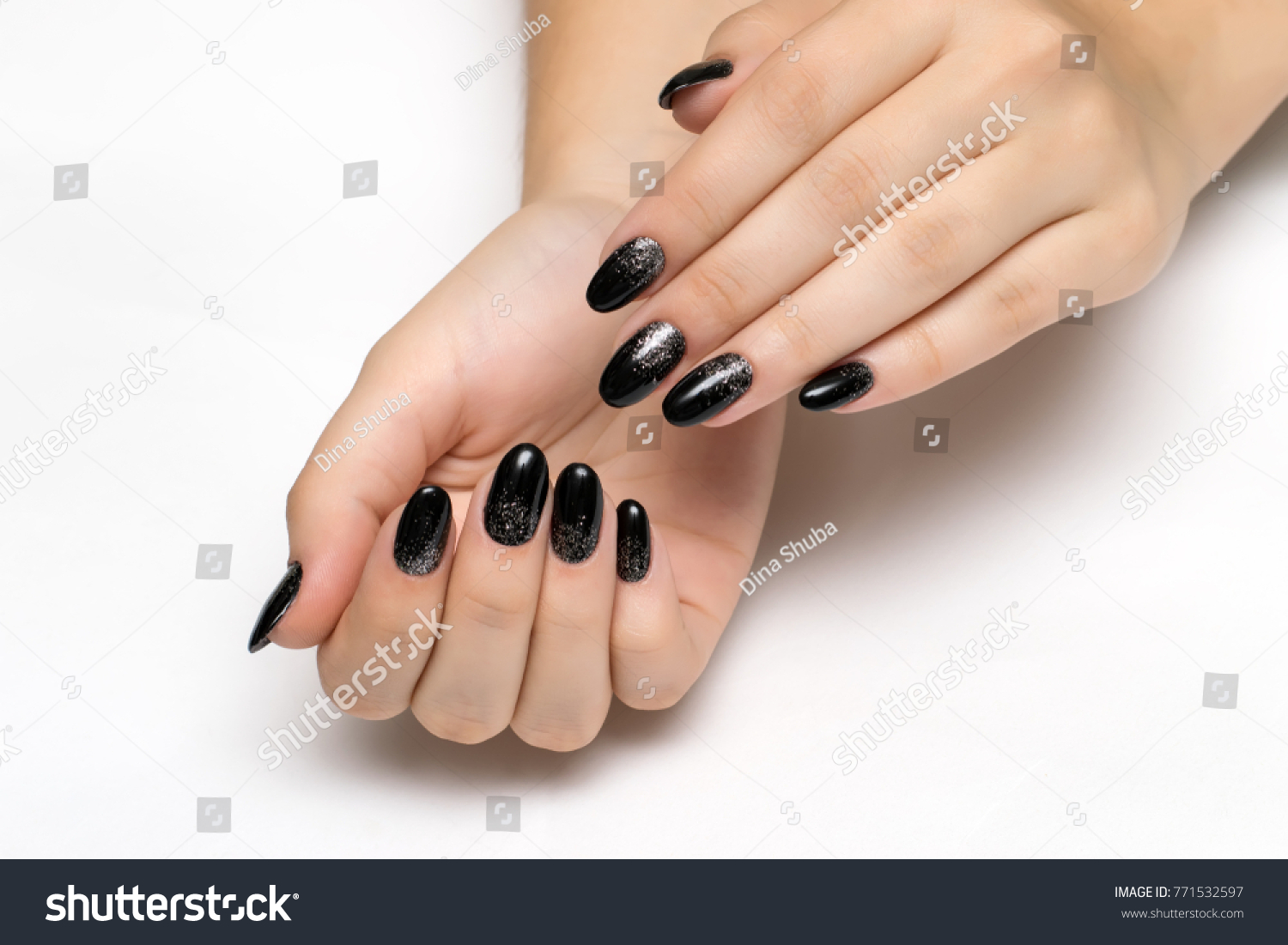 Festive Black Manicure Silver Sequins On Stock Photo 771532597 ...