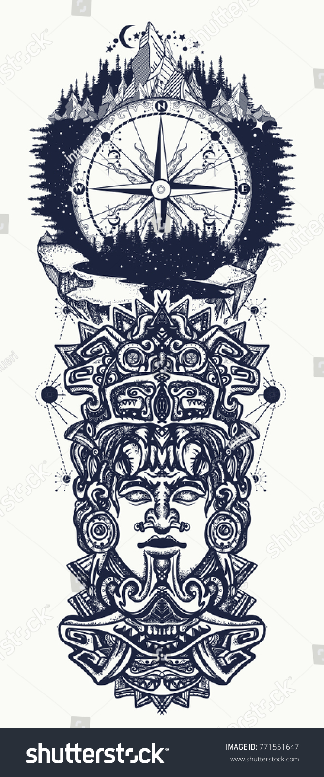 Aztec Temple Tattoo ancient aztec totem mountains compass mexican stock image