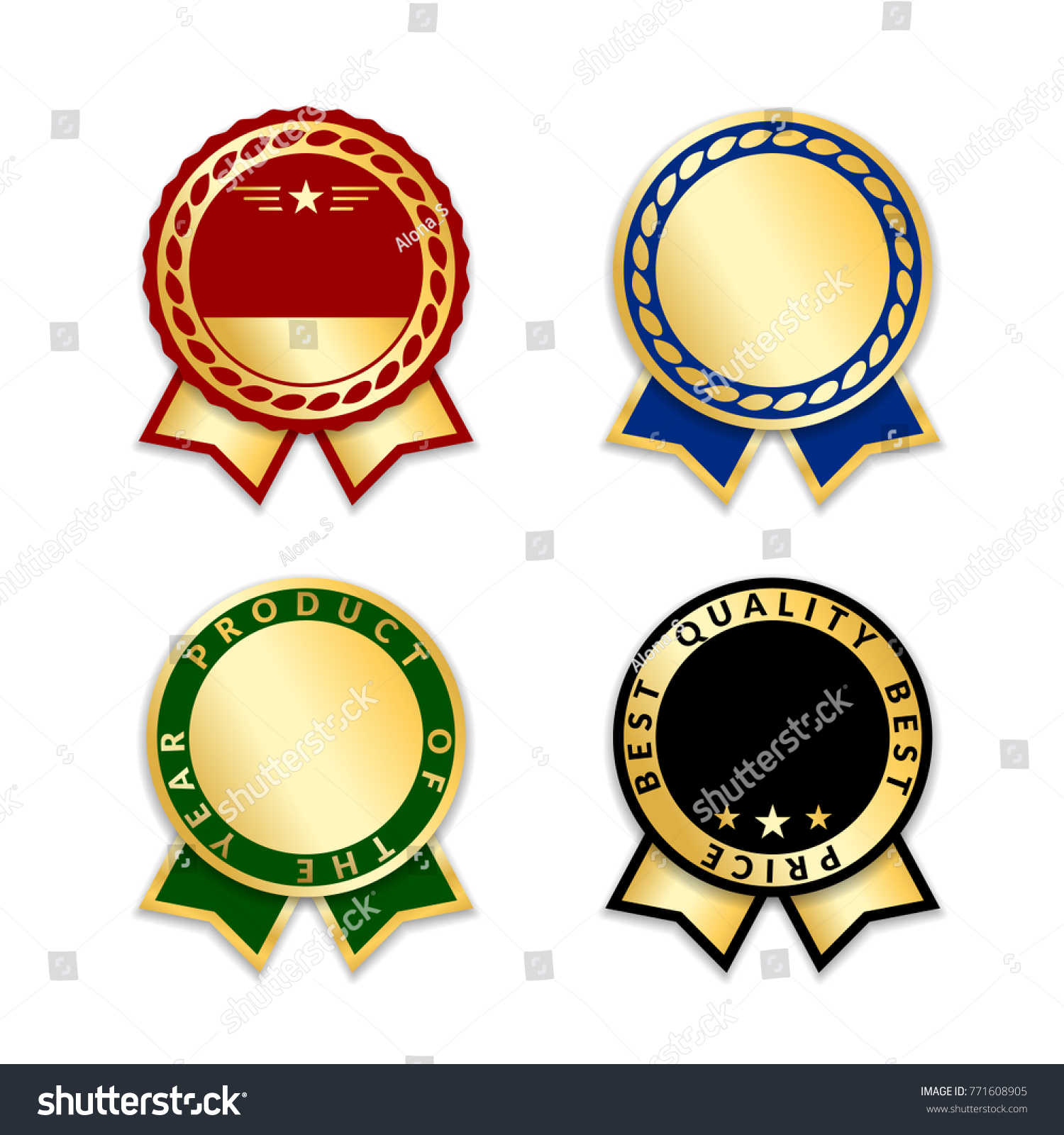 Award ribbons isolated set gold green stock vector 771608905 gold green design medal label badge certificate buycottarizona