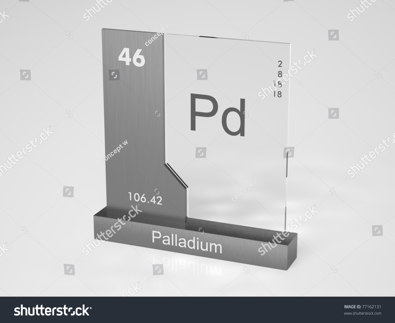 Palladium Symbol Pd Chemical Element Periodic Stock Illustration