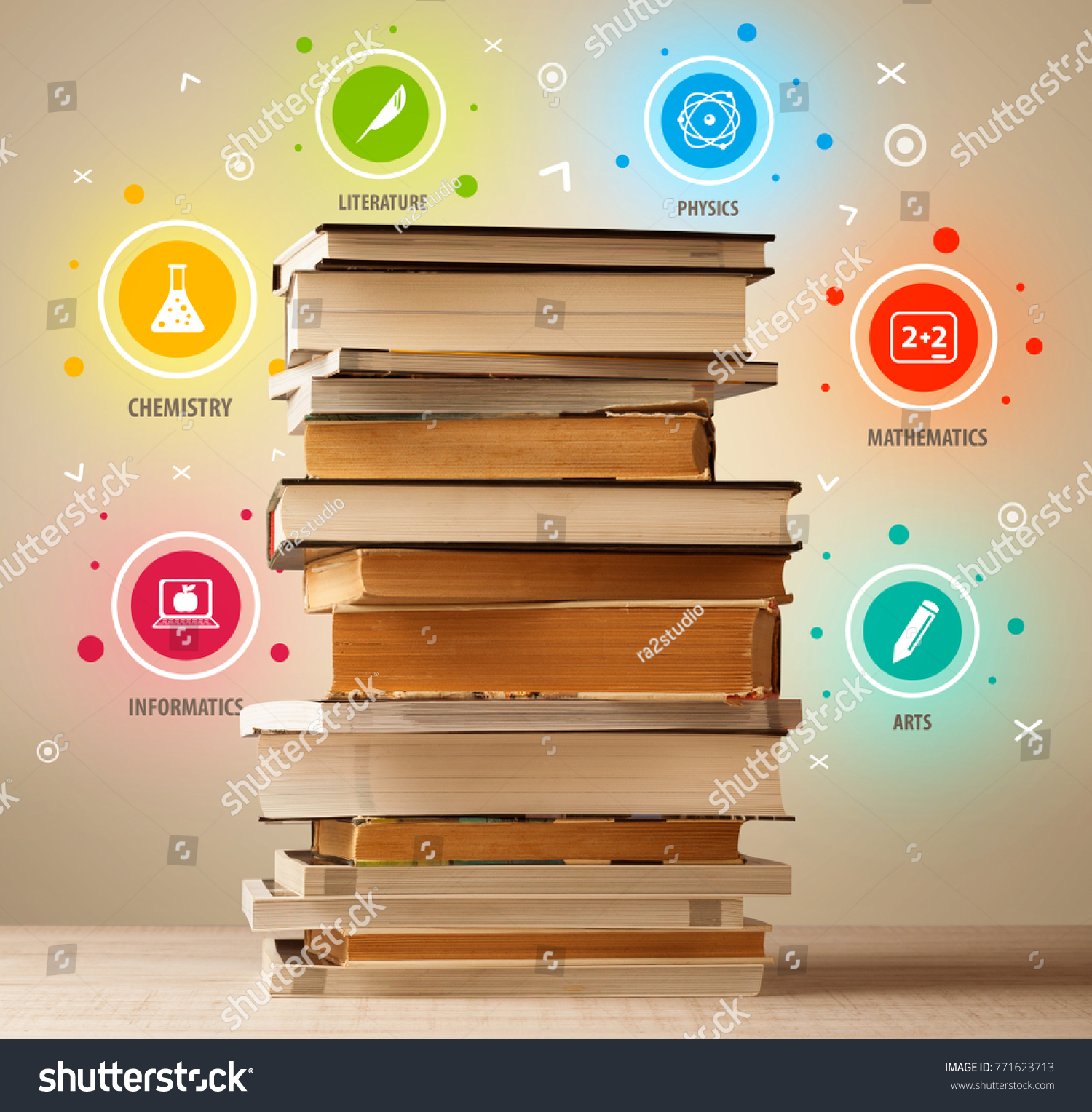 Books On Top Colorful Symbols On Stock Photo Edit Now 771623713