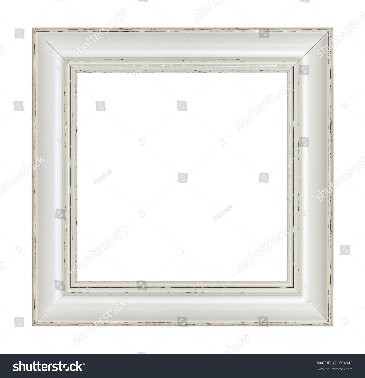 vintage wooden frames on white background   EZ Canvas