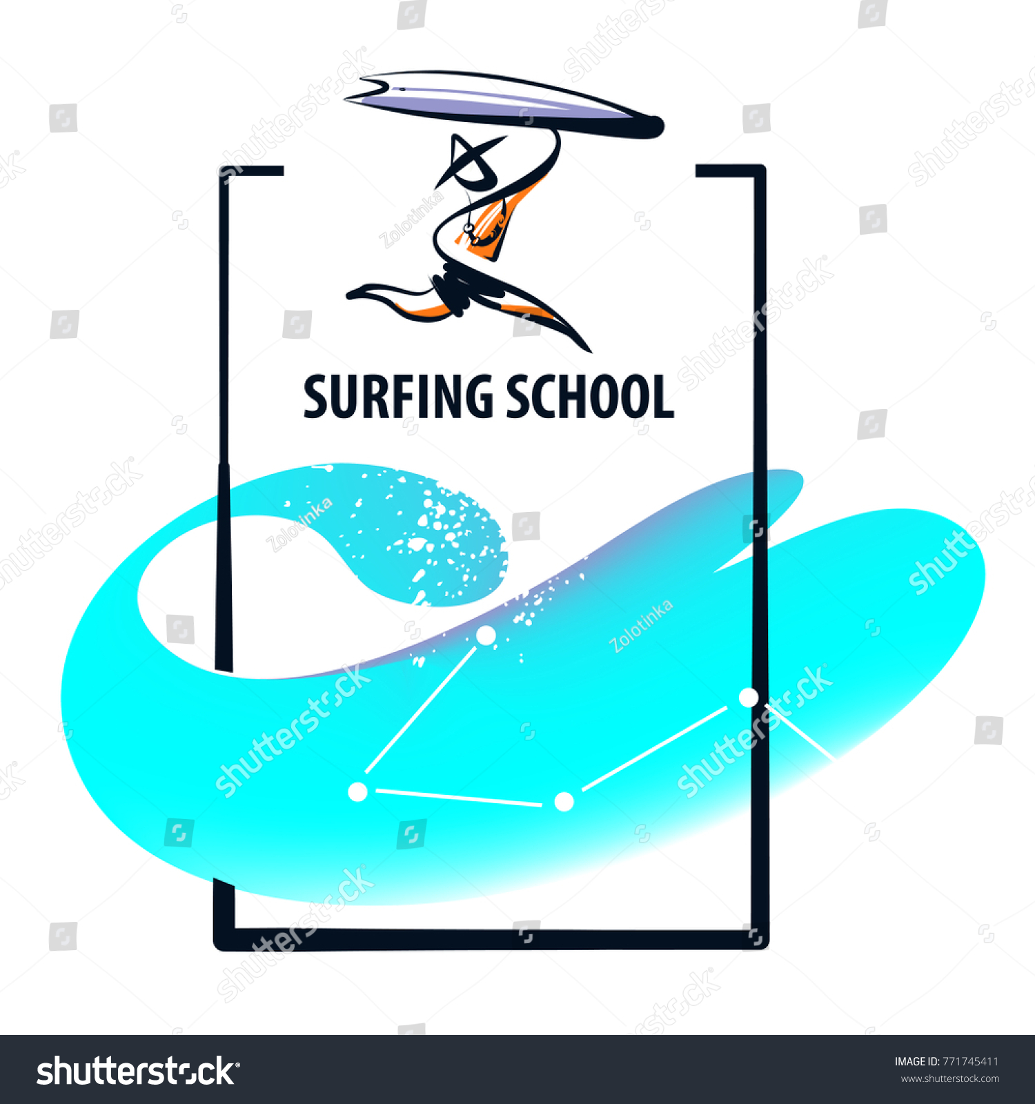 Silhouette Freehand Drawn Man Surfboard Sketch Stock Photo (Photo ...