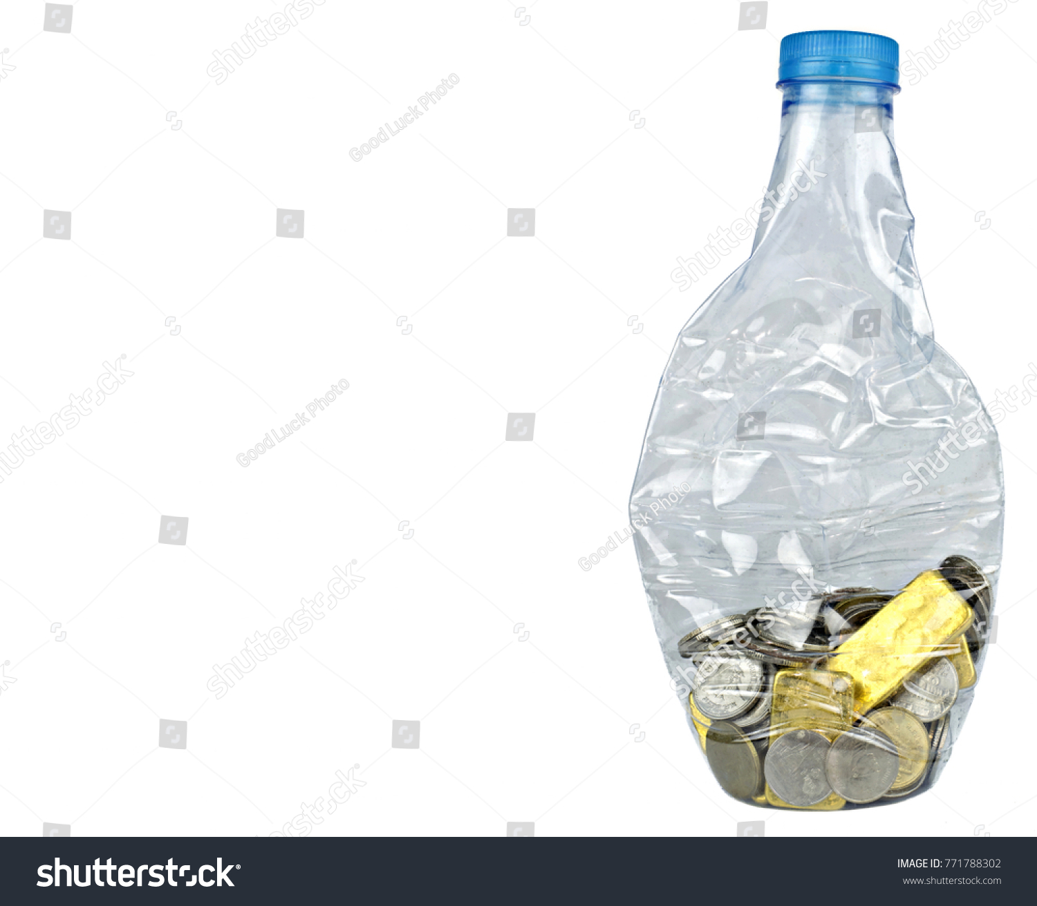 Plastic Bottle Recycle Coin Gold Isolated Stock
