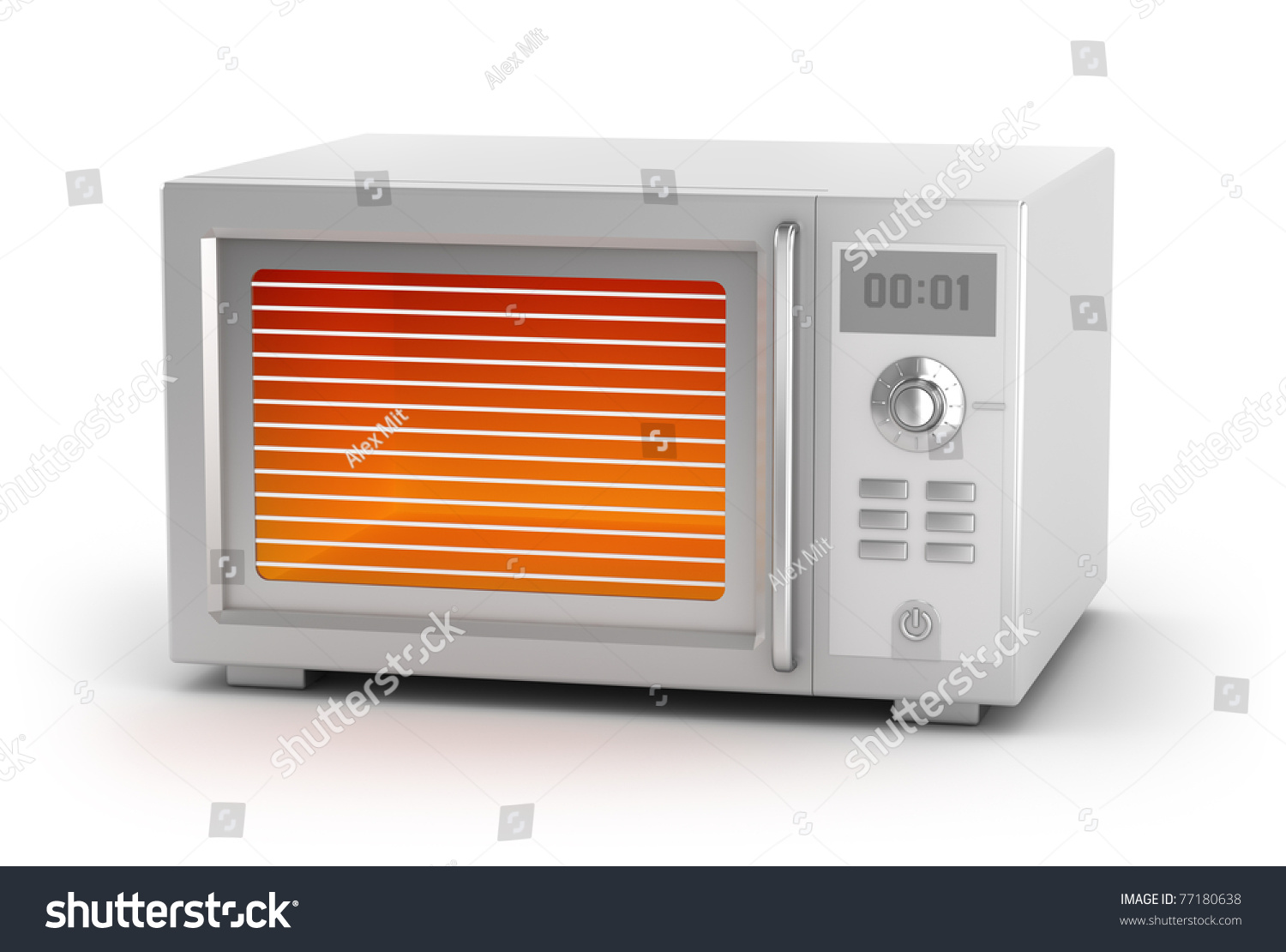Yellow Microwave Oven ~ Microwave oven isolated on white my stock illustration