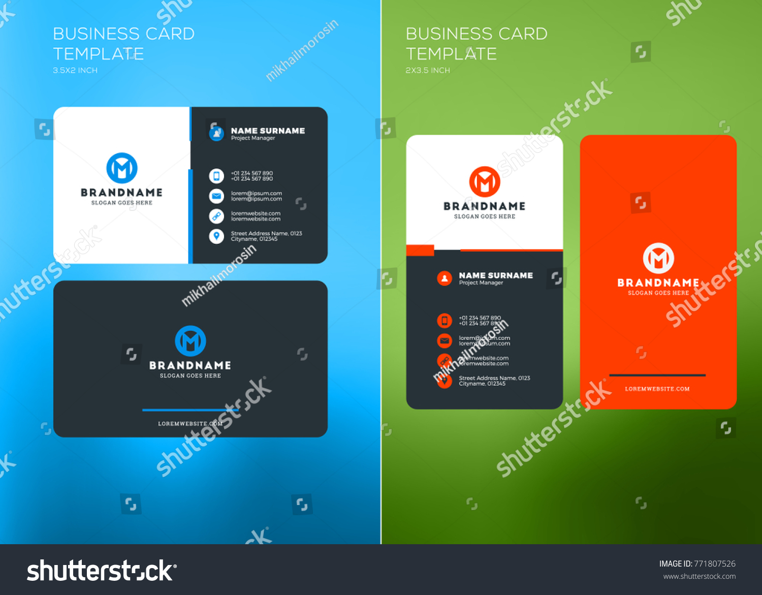 Corporate Business Card Print Template Vertical Stock Photo (Photo ...