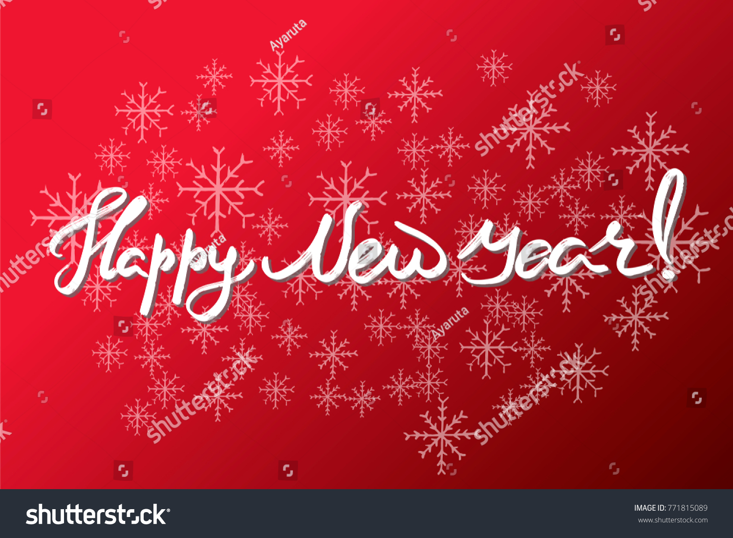 Happy New Year Hand Drawn Lettering Stock Vector (Royalty Free ...