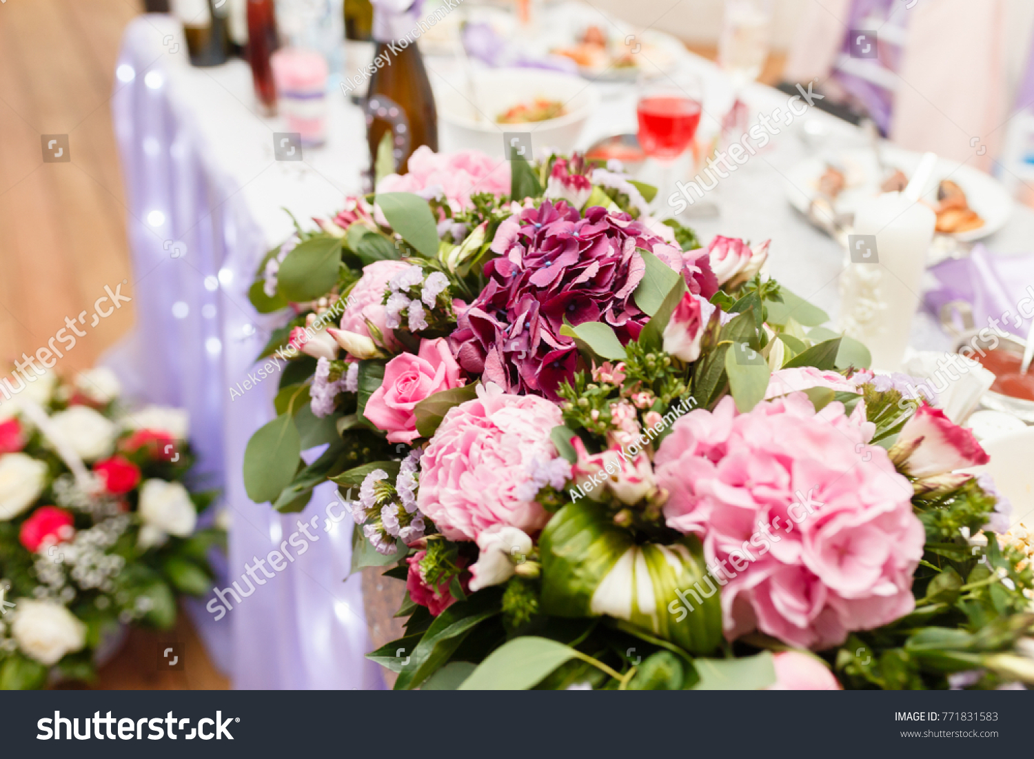 Decoration Bouquet Flowers Table Newlyweds Indoors Stock Photo Edit