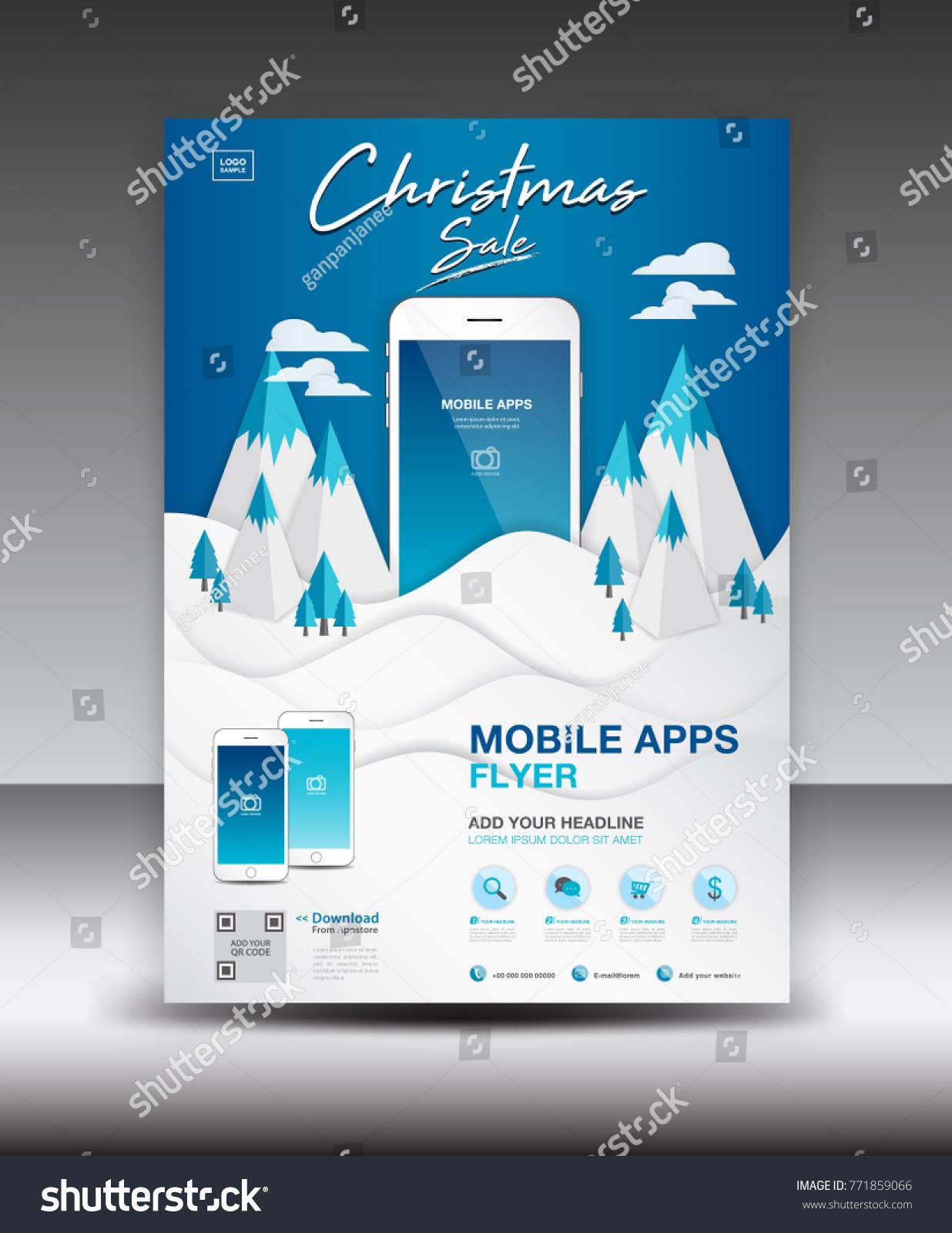 Mobile Apps Flyer Template On Winter Vector de stock (libre de ...