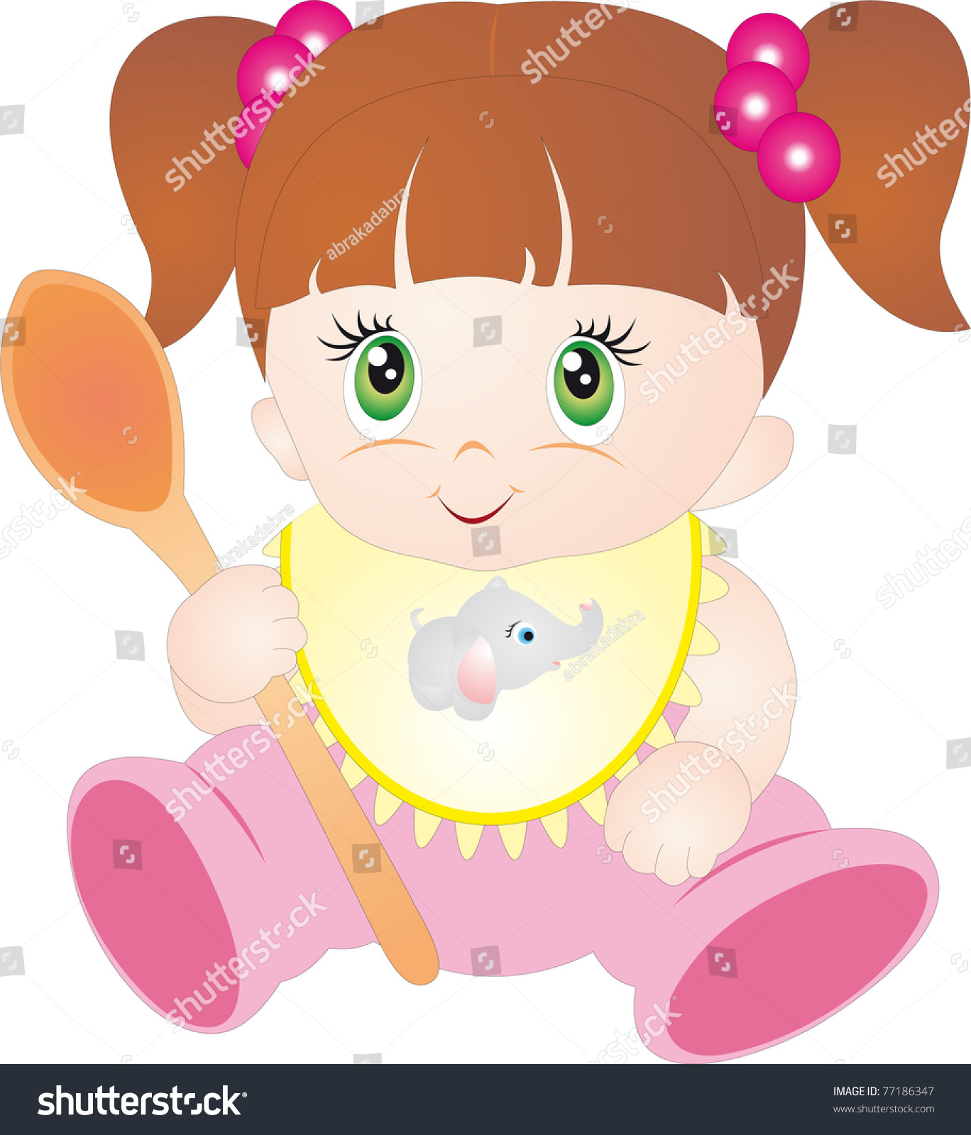 Illustration of a little girl eating food Stock Photo - Alamy
